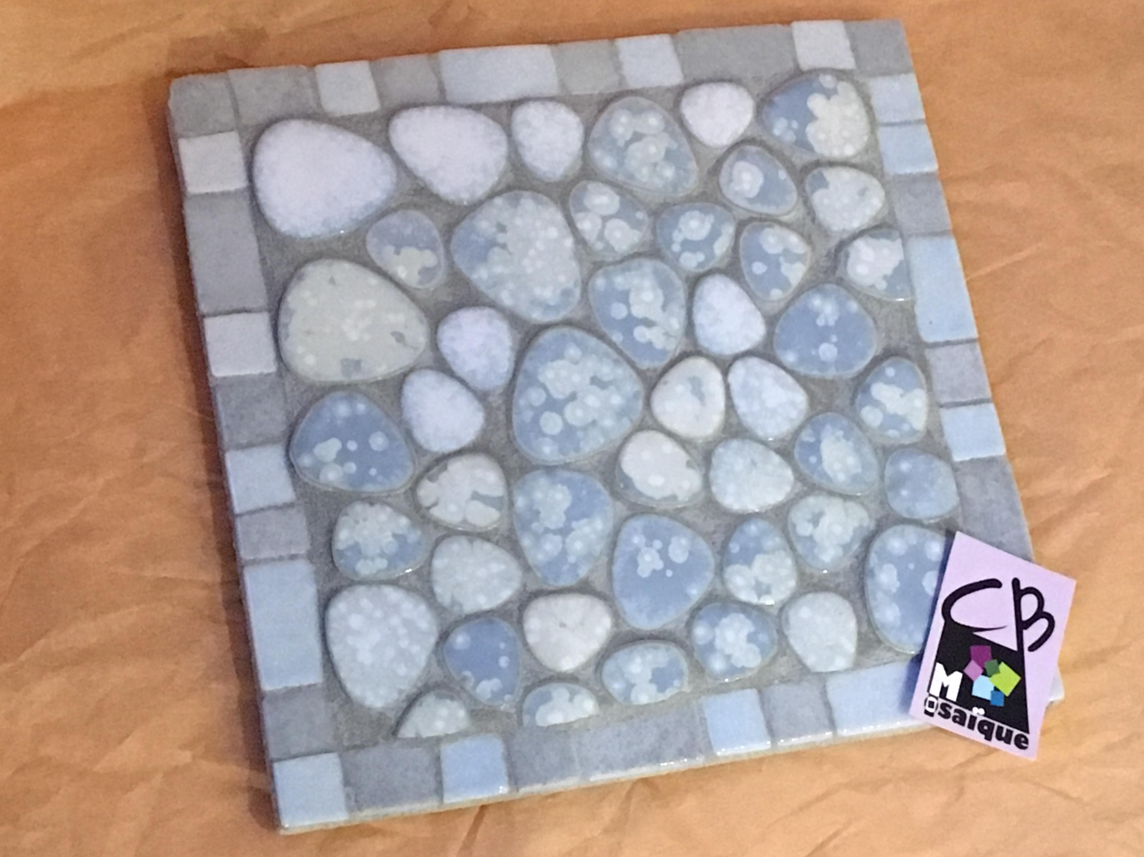 Dessous de plat Galet Gris/bleu clair – CB Mosaïque